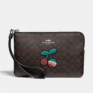 Coach Signature Canvas with Cherry Wristlet